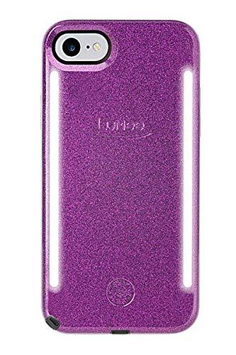 LuMee Duo Handyhülle, dunkelviolett Glitzer | Vorder- und Rückseite LED Beleuchtung, Variabler Dimmer, Stoßdämpfung, Bumper, Selfie Phone Case | iPhone 8 / iPhone 7 / iPhone 6s / iPhone 6