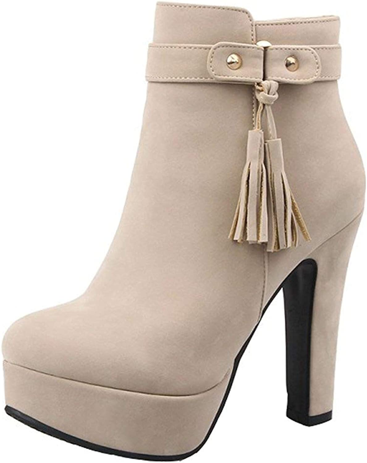 Gcanwea Women's Elegant Faux Suede Fringes Belt Round Toe Chunky High Heel Platform Side Zipper Ankle Boots Dress Sexy Dexterous Easy to Match No Grinding Feet Beige 7 M US Ankle Boots