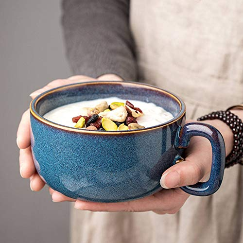 Ceramic Soup Bowls with Handle,450ml Coffee Mug French Onion Soup Bowls Microwave Oven Coffee Cup for Salad Cereals Tea-Ice blue-450ml/15.2oz