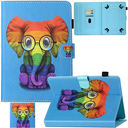 Artyond Universal Case for 7.0 Inch Tablet, PU Leather Card Slots Multi-Angle Stand Case for Samsung Tab E 7.0/ Tab A 7.0/Kindle Fire 2015/2017/2019/LG G Pad 7.0/Android 7.0 Tablet (Paint Elephant)