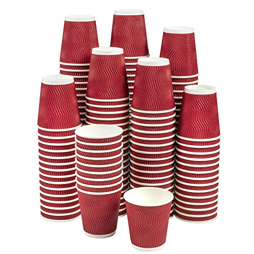 NYHI Set of 150 Ripple Insulated Red Paper Cups – Coffee/Tea Hot Cups | Recyclable |3-Layer Rippled Wall For Better Insulation | Perfect for Cappuccino, Hot Cocoa, or Iced Drinks (12 ounce)
