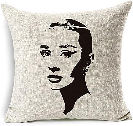 E-gift retro Cotton Linen Square vintage throw Pillow case Shell cuscino federa Audrey Hepburn 45,7x 45,7cm 2