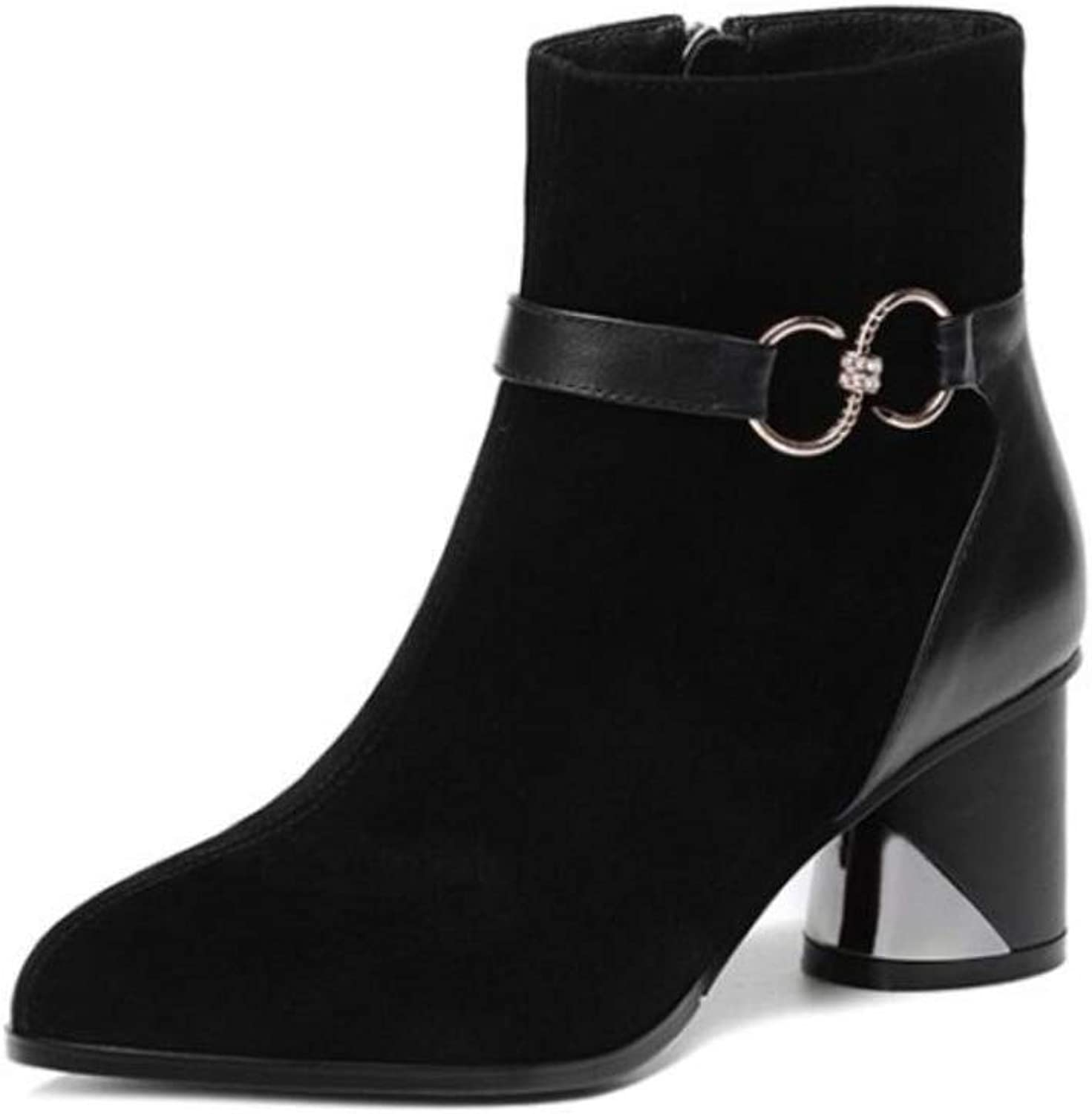 Womens Vegan Suede Lace-Up Zipper Chunky High Heel Ankle Boot Scrub Booties Women's Boots High Heels Thick Martin Boots