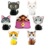 MALLMALL6 7Pcs Cat Themed Honeycomb Centerpieces Kitty Birthday Party Favor Table Decoration Meow Double Sided Table Toppers Party Supplies Pet Baby Shower Decor Kitten Photo Booth Props for Kids