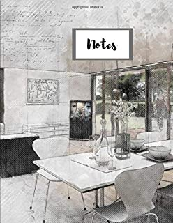 """Notes: Architecture Interior Design Kitchen Table Chairs Buildings Drawings Plans Designs Themed Composition Notebook - 120 Pages (60 Sheets) – College-ruled White Paper – 8.5"""" x 11"""""""