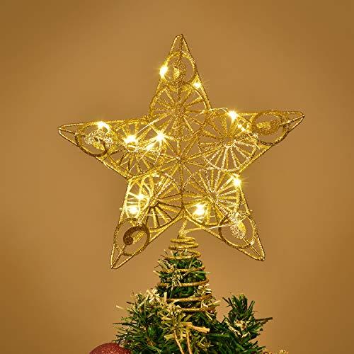 YQing Estrella de Punta de Árbol, 26.4cm LED Estrella de Na