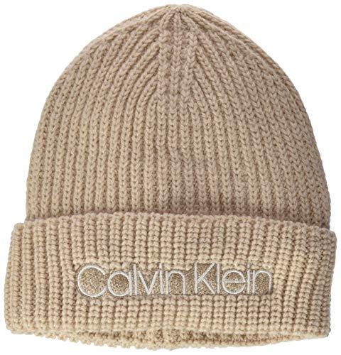 Calvin Klein Beanie Gorro/Sombrero, Arena blanqueada, Talla única para Mujer