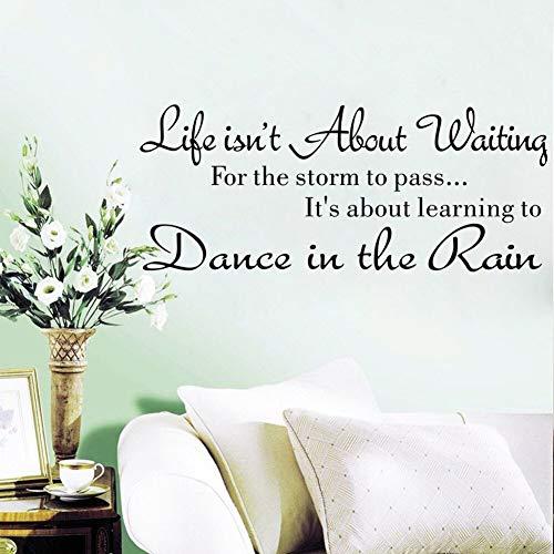 BLOUR Wandaufkleber Kreativer Text Im Leben geht es Nicht darum zu warten Wandaufkleber Zitat Tanzen im Regen Wandtattoo Wörter Einfach # T2