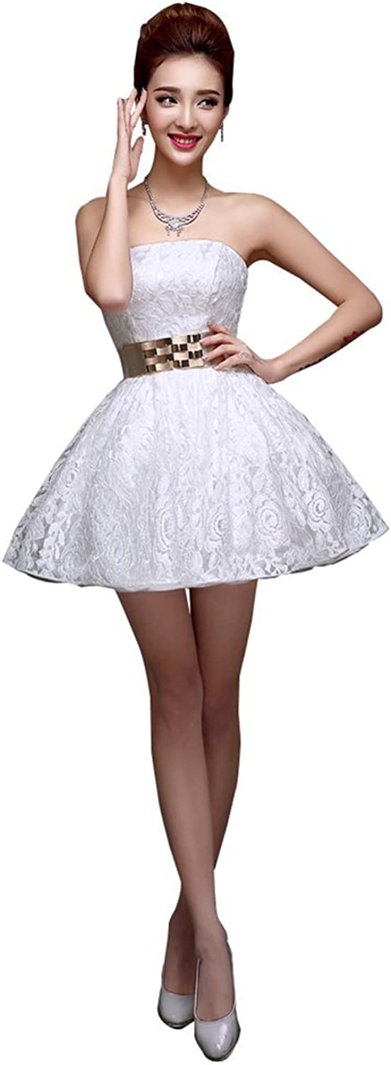 Drasawee Strapless Short Evening Bridemsmaid Party Dress Junior Homecoming Gowns White US8