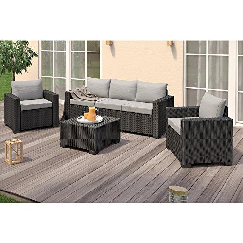 Allibert California Lounge Set Polyrattan Gartenmöbel Rattanoptik Sitzgruppe 4-teilig - 2