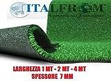 ITALFROM Prato Sintetico 7 mm H 1X25 m - 25mq Finta Erba Tappeto Giardino Calpestabile 5642