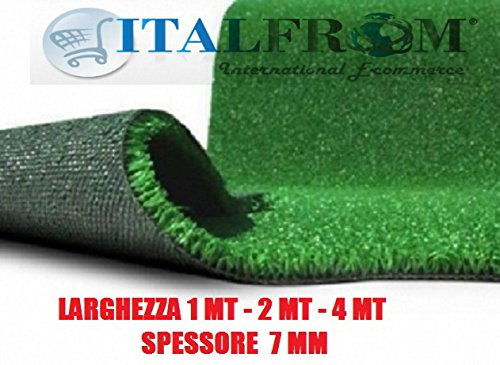 ITALFROM 5649 Gazon synthétique 7 mm H 2 x 25 m – Fausse Herbe Tapis Jardin piétinable