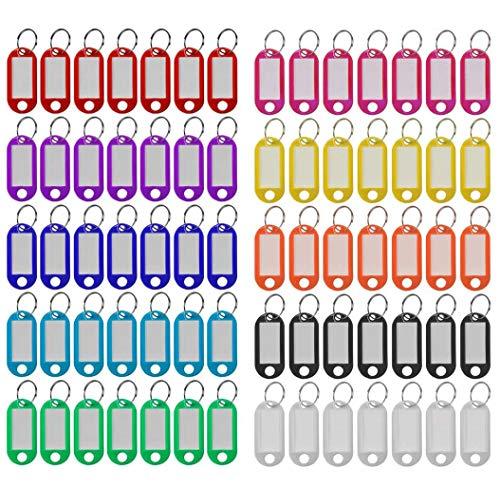 Plastic Key Tags 220 Pcs, 10 Colors Key Tags with Split Ring Label Window, Key ID Tags for Name Tag, Key Chain Tag, Luggage Tags
