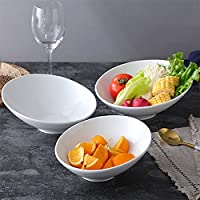 クリエイティブな不規則な白い磁器のサラダスナックボウルサービング皿食器セラミック斜め電子レンジオーブンライスヌードルボウル-7 Inches