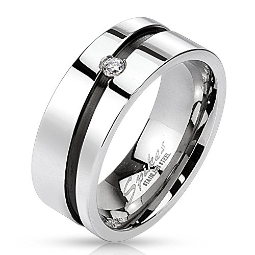 Bungsa® 54 (17.2) Edelstahl Kristall Ring mit diagonal schwarzem Mittelring Silber hochglanzpoliert Damen Herren Partnerringe (Ring Damen Fingerring Partnerringe Verlobungsringe Trauringe Damenring)