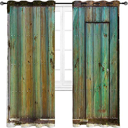 """Kitchen Curtains Vintage Window Drapes Curtain Rustic Old Wood Gate Dated Tuscany House Entrance with Antique Texture Photograph 2 Grommet Top Curtain Panels,52"""" W x 63"""" L"""
