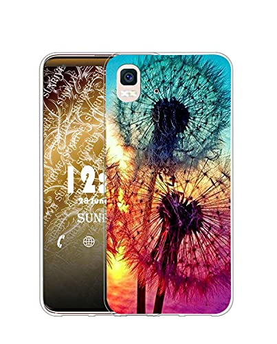 Sunrive Funda Compatible con BQ Aquaris E5s/E5, Silicona Slim Fit Gel Transparente Carcasa Case Bumper de Impactos y Anti-Arañazos Espalda Cover(Q Diente de león)