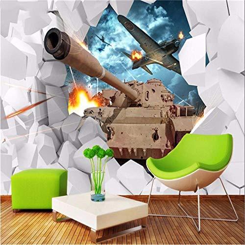 XQFZXQ 3D Wandbild Tapete Selbstklebend Defekter Kampfflugzeugpanzer Wandbild Moderne Wohnzimmer Und Tv Hintergrund Wand 3D Foto PVC Tapete Schlafzimmer Büro Flur Wandbild 3D Dekor Wa(B)250x(H)175cm