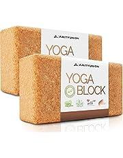 Yogablok set van 2 kurk 100% natuurlijk - Hatha Klotz ook voor beginners Meditatie & Pilates, fitnessaccessoires hulpmiddelen voor regeneratie, rug, twee blokken stuk 75 mm