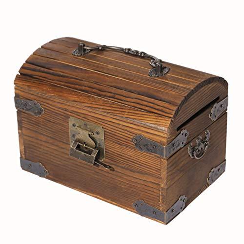 Fikujap Cubo de Madera Banco alcancía Retro sólido, Caja de Dinero de la Vendimia con la Cerradura Adulta, contenedores de Almacenamiento de Monedas Decorativo Metal