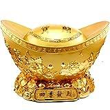 Escultura de la estatua Feng Shui de oro Lingotes / Yuan Bao for la riqueza suerte la decoración del hogar regalo atraer la riqueza y buena suerte banco alcancía cornucopia decoración Feng Shui Estatu