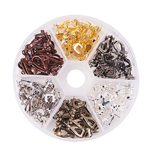PandaHall Circa 96pcs Clip-on orecchino Component per Orecchie Non forate in Ottone Accessori di Orecchini Fai da Te d'oro Argento Bronzo Antico 6 Colori 13x6x7mm