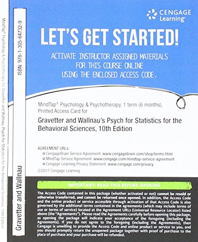 MindTap Psychology, 1 term (6 months) Printed Access Card for Gravetter/Wallnau's Statistics for The Behavioral Sciences