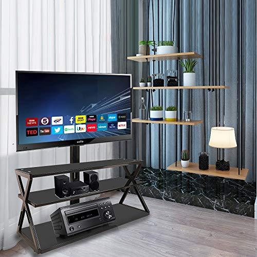 HNWNJ Británico pelo recto con estante de almacenamiento abierto en forma de X marco de acero soporte TV mesa TV consola TV ángulo ajustable