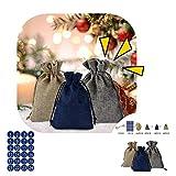 3.9 5.5inch kit d'artisanat de calendrier de Noël - 24 jours Compte à rebours Calendrier Sacs Cadeaux Calendrier de l'Avent Sac en tissu Sac Cadeau de Noël - numéros de Noël autocollants sacs