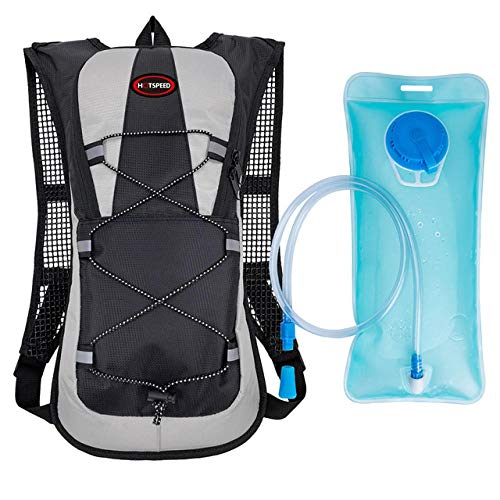 Hydration Pack - 2 Liter Water Bladder with Extra Large Storage Compartment Backpack-Backpack+Hydration Bladder-Black-1
