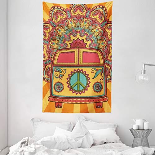 ABAKUHAUS Fiesta 70s Tapiz de Pared y Cubrecama Suave, Hippie Vintage Mini Van Fondo Ornamental con Símbolo de la Paz Arte, Decoración para el Cuarto, 140 x 230 cm, Turquesa