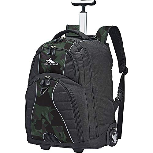High Sierra Freewheel Wheeled Laptop Backpack - Ideal for High School and College Students - Fits Most 15-inch Laptop Models, Black/Shattered Camo