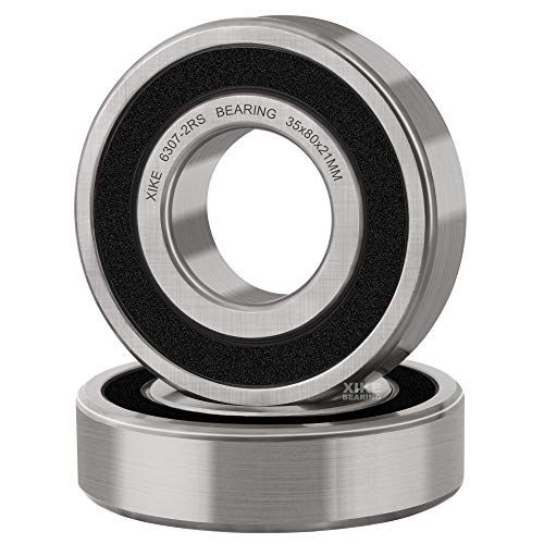 XiKe 2 Pcs 6307-2RS Double Rubber Seal Bearings 35x80x21mm, Pre-Lubricated and Stable Performance and Cost Effective, Deep Groove Ball Bearings.
