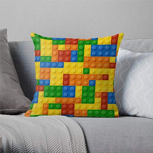 DONL9BAUER Decorative Throw Pillow Covers Lego Farmhouse Cushion Cover Cool Teen Presents Lego Decor Boys Room 18x18 Inch Home Decor for Sofa Couch