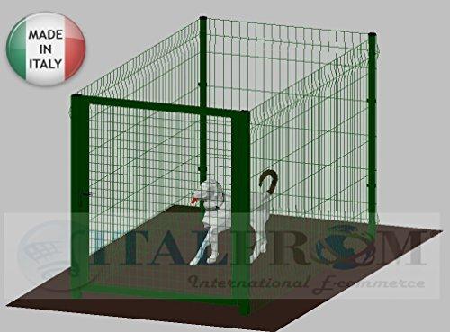 ITALFROM .clôture-Box modulaire pour Chiens en Fer galvanisé et Verni Vert avec poteaux à Enfiler – 200 x 100 x 102 h cm
