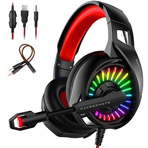 Casque Gamer Casque Gaming pour PC/Xbox/Nintendo Switch/PS4/Mac avec Micro Stéréo Anti Bruit avec 3.5mm Jack ELEHOT (Rouge)