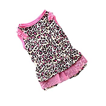 Ninasill ღ ღ Cute Leopard Summer Pet Puppy Dress Small Dog Cat Pet Clothes Apparel  M Pink