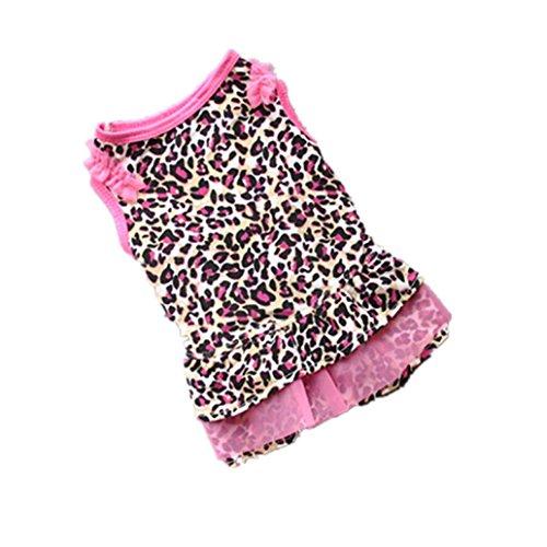 Ninasill ღ ღ Cute Leopard Summer Pet Puppy Dress Small Dog Cat Pet Clothes Apparel (M, Pink)