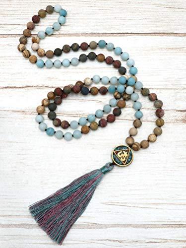 BENAVA Mala Kette   Meditation Halskette   Amazonit Edelstein Kette aus 108 Perlen   Quastenkette mit Mantra Anhänger   Boho Hippie Schmuck