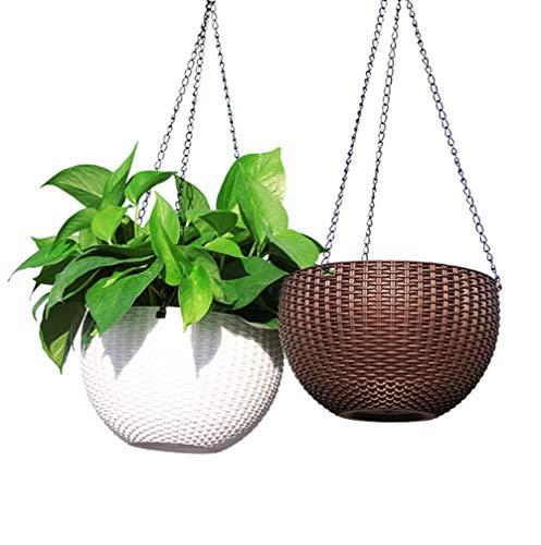 WBFN Hanging,Pot de Fleurs Suspendu Panier Indoor Macrame Plant Hanger Decorative Flower Pot Holder Home Decor aute qualité Résistant à la, Pas Facilement déformé, Lot de 2 (Color : A)