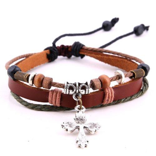 Morella Damen Armband aus Leder mit Perlen und Kreuz Anhänger