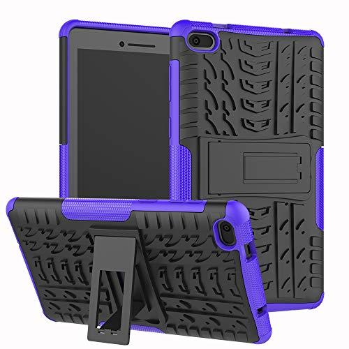 FullProtecter Lenovo Tab E7 Hülle,Bumper Cover Schutz Tasche Handyhülle Schutzhülle Silikon TPU+PC Hardcase für Lenovo Tab E7(Lila)