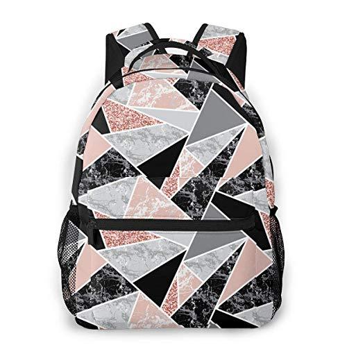 shenguang Forme geometriche e zaino scuola glitter rosa Adolescenti Ragazze Ragazzi Borse scuola per bambini Bookbag