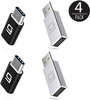 USB C - Micro USBアダプター & USB 3.0 - USB-C [4パック] Type-C USB 3.1コンバータ & コネクタ 充電&データ同期 OTG (5 Gbps) | 高速充電 | ノートパソコン タブレット スマートフォン と互換性あり