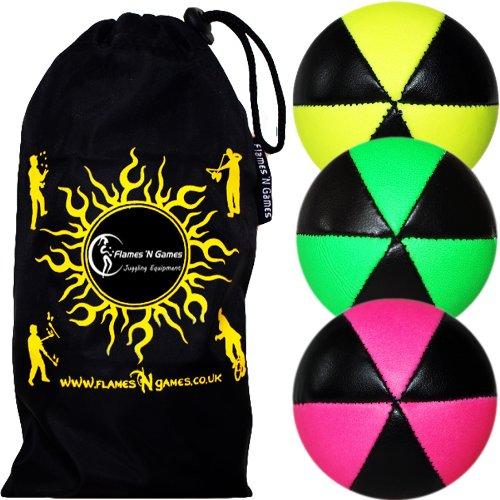 3X Astrix UV Balles de Jonglage en Cuir Super Durable (Leather) Pro Jonglerie Beanbag Jonglage Balles + Sac de Transport. (Jaune/Vert/Rosa)