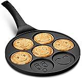 Gourmia GPA9540 Emoji Smiley Face Pancake Pan - Fun 7 Emoji Mini Pancake and Flapjack Maker - Die Cast Aluminum, Double Layer Nonstick Coating - Cool-to-Touch Handle