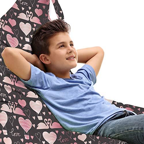 ABAKUHAUS Valentijnsdag Zitzak, Zwanen van de liefde Hearts, Veel Ruimte om Zacht Speelgoed als Knuffels in op te Bergen, met Handvat, Taupe Grey Pink