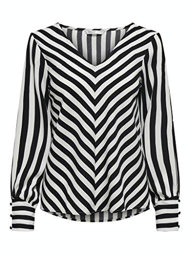ONLY Damen ONLUMA LS WVN Top, Black/Stripes:W Cloud Dancer Stripes, M