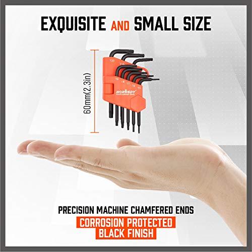 SEDY 8-Pieces Mini Torx-L Key Tamperproof Allen Wrench, T5, T6, T7, T8, T9, T10, T15, T20, Cr-V