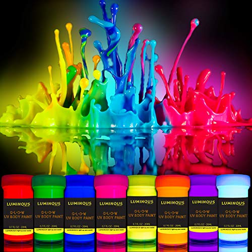 LUMINOUS UV Body Paint - Set of 8 - Black Light Neon Make-Up 5.5 fl oz Bodypainting Neon Blacklight Bodypaint Face Paints